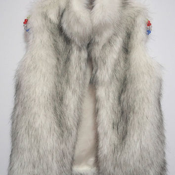 White High Neck Faux Fur Vest