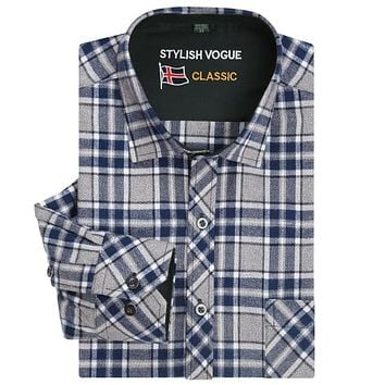 Men's Long Sleeve Brushed Plaid Shirt with Left Chest Pocket Pure Cotton Smart Casual Regular-fit Thick Flannel Gingham Shirts