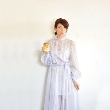 sheer lilac boho victorian dress . frilly see through secretary frock .small.medium