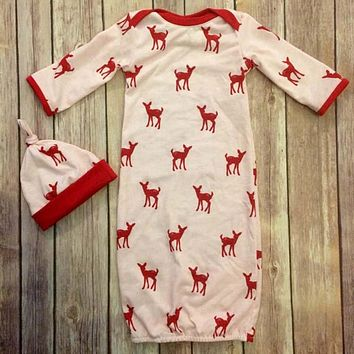 Baby pajamas sets hat and scratch mittens + baby pajamas newborn set high quality with red deer