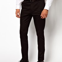 ASOS Skinny Fit Trousers in Cotton Sateen at asos.com