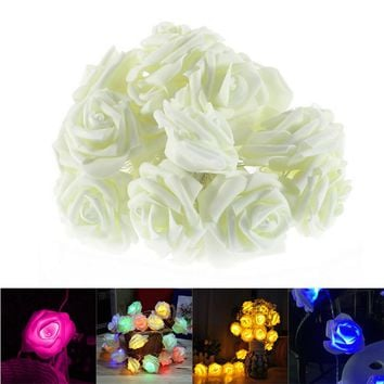 Christmas Wedding Decoration 20 LED Rose Fairy String Lights Indoor Outdoor Flower Lights Decoration for Garden New Year