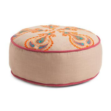Made in India Embroidered Round Pouf Floor Pillow