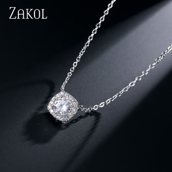 ZAKOL 4 Color Trendy Square Shape AAA+ CZ Diamond Pendant Women&Men Necklaces Platinum Plated For Party FSNP072