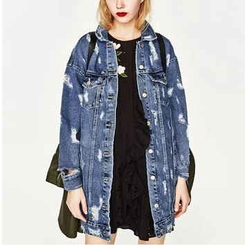 Boyfriend Vintage Big Hole Denim Jacket 2017 New Women 2 pockets Single Buttons Mid Long Jacket Coat Femme Jean Outerwear