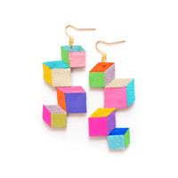 Neon Geometric Cube Earrings, Leather Jewelry | Boo and Boo Factory - Handmade Leather Jewelry