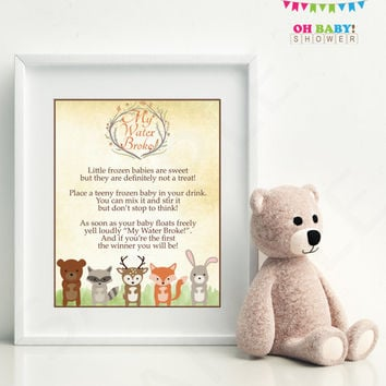 My Water Broke Game, Woodland Baby Shower Game, Woodland Animals, Baby Shower Printables, Fox Baby Shower, Rustic Baby Shower, Download WD01