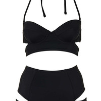 Black Slashed Cut Out Bikini - New In This Week - New In - Topshop