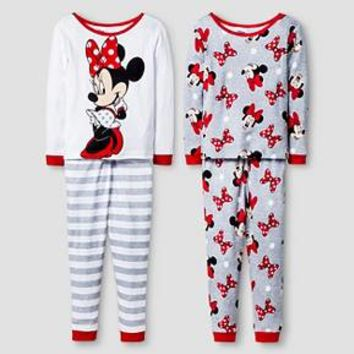 Disney® Girls' 4 Piece Minnie Mouse Pajama Set - White