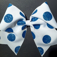 3in. Glitter Polka Dot Cheer Bow
