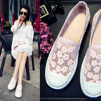 Summer Korean Floral Lace Flat With Heel Thick Crust Casual Leather Shoes [4920288004]
