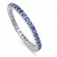 Ana's Thin Blue Sapphire Imitation Diamond Eternity Ring