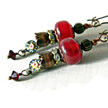 Red Bohemian earrings with Lampwork and Micro Mosaic Charms, Red Glass bead earrings, Assemblage Gypsy earrings, Crimson and Copper dangles,