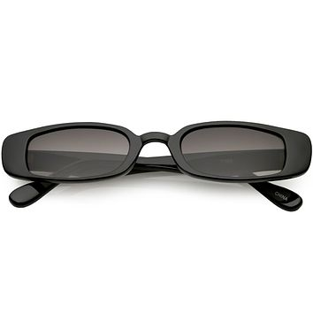 Extreme Thin Small Rectangle Sunglasses Neutral Colored Lens 49mm