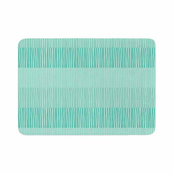 "Holly Helgeson ""Mod Grass"" Teal Lines Memory Foam Bath Mat"