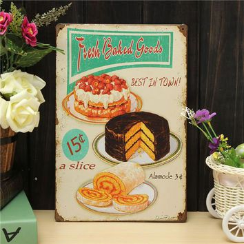 Bake Sheet Metal Drawing Retro Metal Painting Pub Club Cafe Home Poster Sign Tin Decor