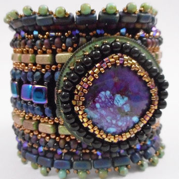 Bead Embroidered Art Cuff MOSAIC TURQUOISE