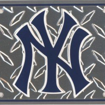 New York Yankees Diamond Metal License Plate