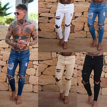 Distressed ripped holes Slim Fit Hip hop jeans