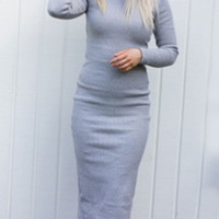 Light Gray Long Sleeve Split Back Bodycon Dress