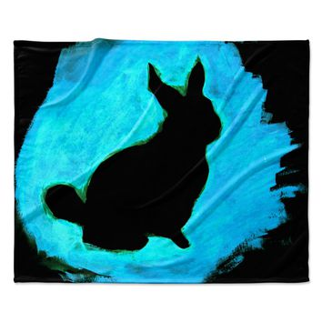 "Theresa Giolzetti ""Blue Moon Bunny"" Aqua Paint Fleece Throw Blanket"