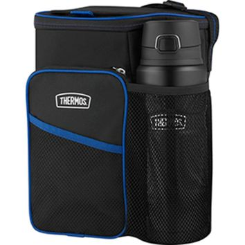Thermos Lunch Lugger Cooler w/STAINLESS KING Direct Drink Bottle Set - Black