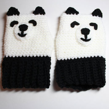 Childrens Panda fingerless gloves- Crochet Kids Animal mittens- Black and white kids gloves