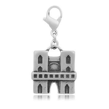 Stainless Steel Notre Dame De Paris Floating Dangle Charms Church Buildings Necklace Pendant With Lobster Clasp