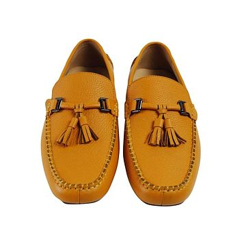 VIKEDUO Brand Retro Handmade Men Moccasin Gommino Fashion Casual Stress Shoes Cowhide Leather Tassel Shoes Hand Painted footwear