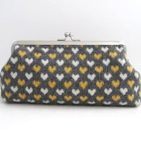 Frame Clutch purse  -hearts on gray wool