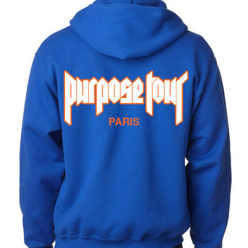 "Justin Bieber ""Staff / Purpose The World Tour 2016 / Paris / White & Orange Purpose Tour"" Unisex Adult Blue Hoodie Sweatshirt"