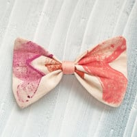 Medium Hand-printed fabric Hair Bow Barrette, Magenta, Light brown, Salmon pink for women and girls.