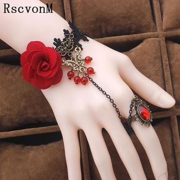 Fashion jewelry red rose flower cane temperament of crystal lolita lace bracelet with ring