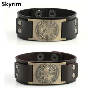 Skyrim Seal of Solomon of the Archangel THAVAEL Leather Bracelet Wicca Amulet Supernatural Talisman Man Cuff Bracelet for Men