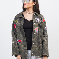 Distressed Camo Patched Jacket