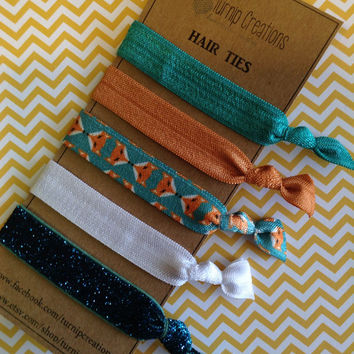Fox Hair Ties Boho Chic Copper Turquoise glitter elastic Bohemian pony tail holder