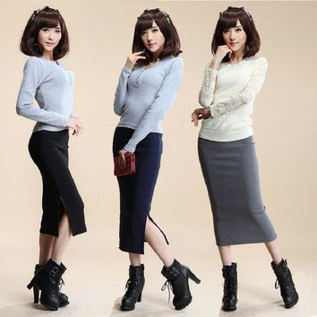 PEAPYV3 2016 Autumn Winter Women Skirt Wool Rib Knit Long Skirt Faldas Package Hip Split Skirts  A919