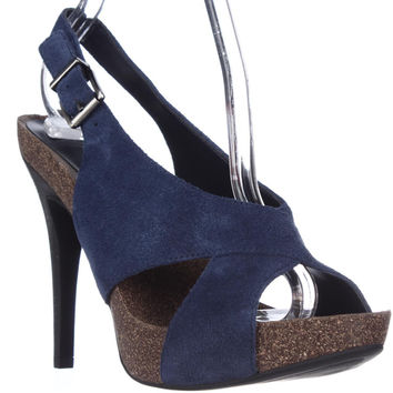 BCBGeneration Greer Slingback Platform Sandals - Blue Night