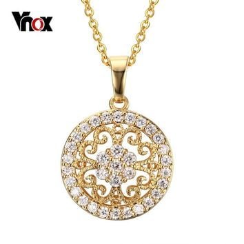 Vnox Vintage Statement Necklace Pendant for Women Gold color Round Love Crystal Accessories Jewelry