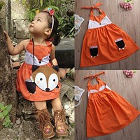 Dress Girl 2016 New Children Kids Baby Girls Cute Fox Dress Backless Minions Princess Party Orange Tutu Dress Girl Clothing 2-7Y