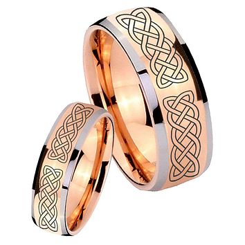 His Hers Rose Gold Dome Celtic Knot Two Tone Tungsten Wedding Rings Set