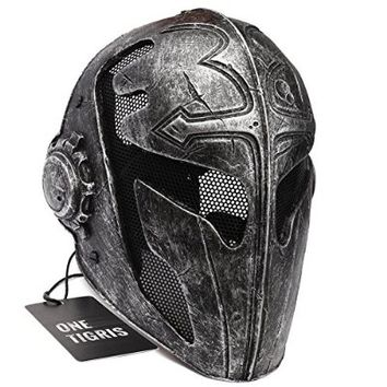 OneTigris Full Face Protection Game Mask Knight Mask Templar for Men (Gold)