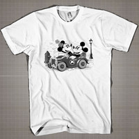 OLD MICKEY & MINNEY MOUSE With Car  Mens and Women T-Shirt Available Color Black And White