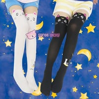 [3 For 2] Screaming! Sailor Moon Luna Artemis Kitten with Tail on Back Legging Tights SP141305