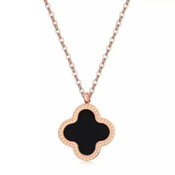 Van Cleef & Arpels New fashion four-leaf clover women necklace Rose Gold