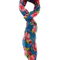 Blue Floral Print Wrap Scarf by Charlotte Russe
