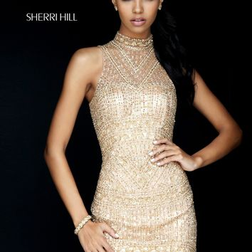 Sherri Hill 50521 High Neck Beaded Dress | RissyRoos.com