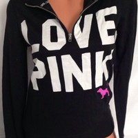Victoria Secret Pink Graphic Love Pink Black Campus Neon Doggy Half Zip Small