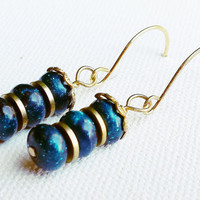 Blue Sparkle & Gold Beaded Earrings - Blue and Gold Earrings - Blue Beaded Jewelry - Blue and Gold Jewelry - Gold Bead Earrings - SALE
