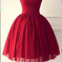 Homecoming Dress,Strapless Ball Sweetheart Red Chiffon Short Prom Dress